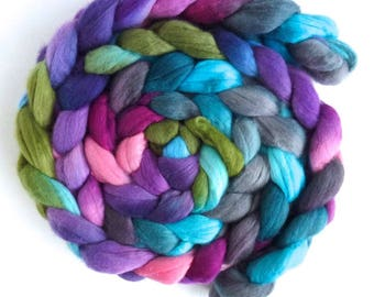 Merino Wool Roving Superfine - Hand Dyed Spinning or Felting Fiber, Blooming Treasures