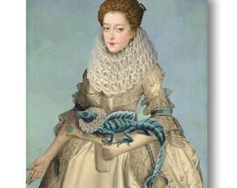 Frilled Lizard Print Digital Art Surreal Home Decor Portrait Lady Ruffled Collar Elizabethan Unusual Blue
