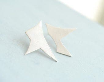 Mismatched Studs, Abstract Earrings, Silver Architectural Jewelry