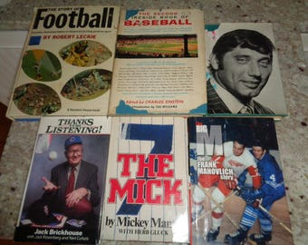 Vintage Hard Cover Football Baseball Hockey Sports Books Collection Lot FREE SHIPPING