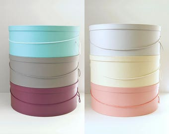 """Millinery HAT BOX ~ HATBOXES ~ Your Choice 6 C0L0RS ~ 14""""-15""""-16""""-18"""" x 6""""-7"""" Deep ~ Stack of 4"""