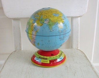 Vintage Globe Bank, Medium Metal Globe, Seasons Globe, Zodiac Signs Globe, Colorful Metal Globe, Vintage Bank, Vintage Bank Globe