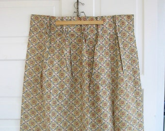 Set Vintage Barkcloth Curtains Drapes, Vintage Gold Curtains, Barkcloth Fabric, Flowers Barkcloth Fabric, Vintage pinch pleat curtains