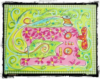 "Sewing Machine Art ""If I Had A Needle"" Original Painting Made To Order YelliKelli"