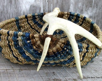 Antler Basket Woven from Natural Materials Including Real Shed Antler