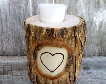 9th Anniversary Candle of Rustic Willow Wood Inscribed with Your Initials or Names in a Heart OOAK