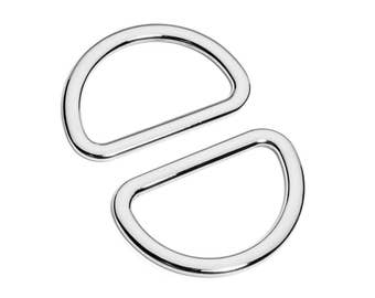 "30pcs - 1 1/2"" (38mm) Flat Zinc D-Ring - Nickel - (FDR-116) - Free Shipping"