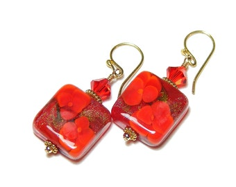 Red Pansies, Gold Vermeil Sterling Silver Earrings, Handcrafted Lampwork Glass Jewellery