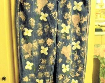 Painted Denim Jeans/ Liz Claiborne Retro Size 8 Petite/ Dogwoods, Hearts, Splatter Paint/ Valentine's Jeans/  Sheerfab Funwear