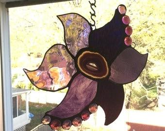 Purple Brazilian Agate Slice stained glass Flower art