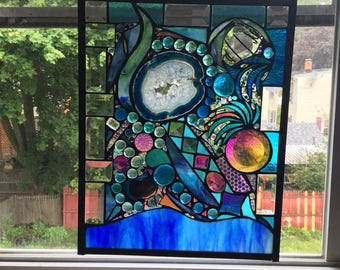 Lost in Turquoise and loving it  No 8 Stained Glass Abstract Art Mixed Media Panel