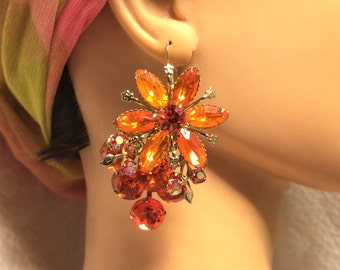 Vintage Huge Orange Flower Rhinestone Pierced Earrings. They are about 2 1/4  by 1 1/2 Inches and Are Show Stoppers. Lots of Sparkle. (D9)