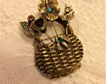 Vintage Goldette Basket of Flowers and Heart and Little Bee. It is Signed Goldette in Script Inside. Rhinestone and Turquoise Accents (D13)
