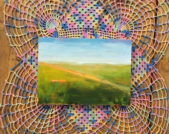 Path through the field, original acrylic painting on linen canvas panel