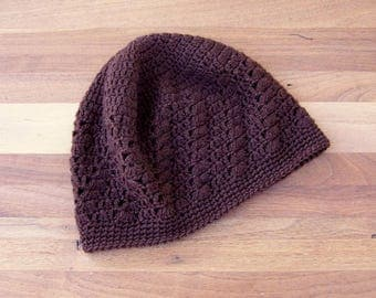 Crochet Kufi Hat - Lace Beanie - Skull Cap - Brown
