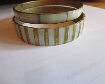 2 brass mother pearl bangles