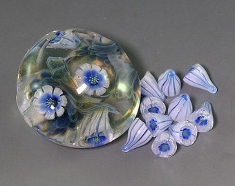 Handmade Lampwork 3D Flower murrini for bead by Ikuyo SRA
