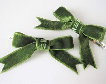 Green Velvet Bow Hair Clips, Two Beaded Ribbon Hair Clips, Teen Hair Bow Clips, Childrens Hair Clips, Womens Retro Style Clips, Hair Ribbons