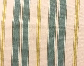 Home Decor Fabric | Blue Green Cream Stripe | Cotton Twill fabric