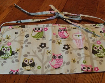 Ladies Vendor Apron. Event Apron. Teacher's Apron. Craft Apron. Owls. Pink. Canvas.