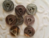 Vintage Buttons - Amazing mother of pearl, 8 small matching carved triangle   designs,  (feb 133 17)
