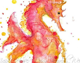Seahorse Art, Seahorse Print, Watercolor Print, Watercolor Painting, Seahorse Painting, Art Print, Nature Art, Ocean Art, Majik Horse