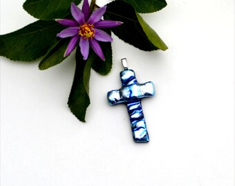 Fused dichroic glass pendant, cross, light blue, silver