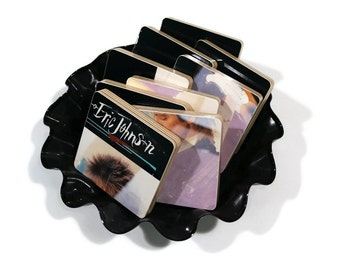 Eric Johnson recycled Tones album cover handmade wood coasters and vinyl record bowl combo