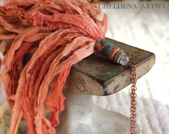 Sari Silk Tassel Necklace, Dark Coral, Swarovski Faceted Crystal Bead, Rhinestone Spacer, Brass Art Shell, Art Jewelry, Cheldena Artwear