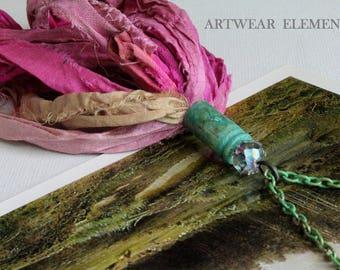 "Sari Silk Tassel Necklace, 5"" Vintage Pink, AB Fire Polish Crystal Bead, Primitive OX Art Shell, Patinated Art Chain, Cheldena Artwear"