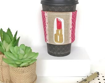 Ecofriendly Coffee Sleeve, Coffee Cozy, Java Jacket, Lipstick Coffee Sleeve, Cute Coffee Sleeve, Teacher Gift, Babysitter Gift, Reusable