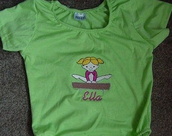 Personalized Embroidered Gymnastics Gymnast Girls Lime Green Toddler Tumbling Leotard Size Large 4-6 toddler Short Sleeves Balance Beam