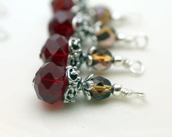 Vintge Style Red Rondelle Crystal with Brown Czech and Ornate Silver Bead Dangle Charm Drop Set - Earring Dangle, Charm, Drop, Pendant