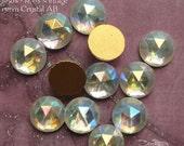 ON SALE Vintage Cabochons - 13 mm Facet Crystal AB -  6 West German Faceted Glass Stones