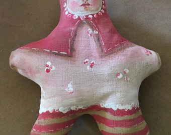 Stuffed doll handmade primitive child painted stuffed dolls pink star baby  ONE DOLL girl child art