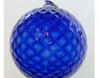 Cobalt Blue Diamond Facet Blown Glass Ornament 3.5 inches FREE SHIPPING