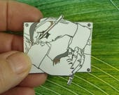 """Vintage Memphis Design Movement MC Escher """"Drawing Hands"""" Enameled in White & Grey Flannel Acme Studios Brooch, Collectible, Circa 1990"""