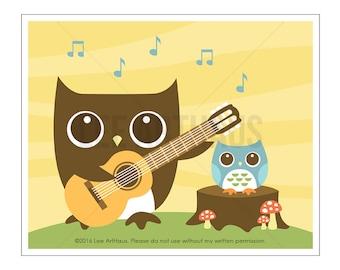127A Owl Nursery Print - Owl Playing Guitar to Girl Owl Wall Art - Guitar Wall Art - Guitar Print - Woodland Nursery Girl - Woodland Boy Art