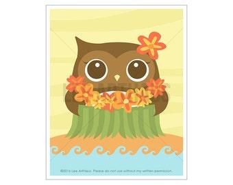 8A Owl Print - Hula Owl Wall Art - Baby Girl Nursery Art - Hawaiian Print - Dancer Wall Art - Owl Decor - Woodland Animal Art - Luau Print