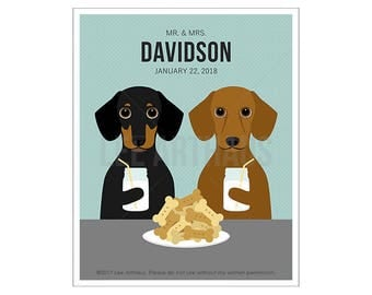 234P Custom Dog Art - Mr and Mrs Dachshund Wall Art - Mr and Mrs Gift - Milk and Cookies Print - Married Couple Gift - Gift for Her and Him