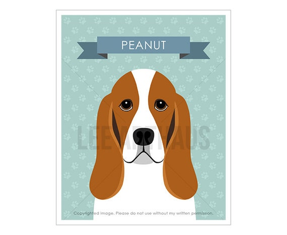 22N Modern Dog Art - Personalized Basset Hound Dog Wall Art - Basset Hound Print - Boy Room Decor - Cute Dog Home Decor - Dog Gift Ideas