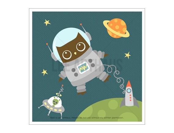 76A Owl Nursery Print - Owl in Space Wall Art - Owl Print - Woodland Boy Nursery - Space Print - Astronaut Art - Space Wall Art - Owl Poster