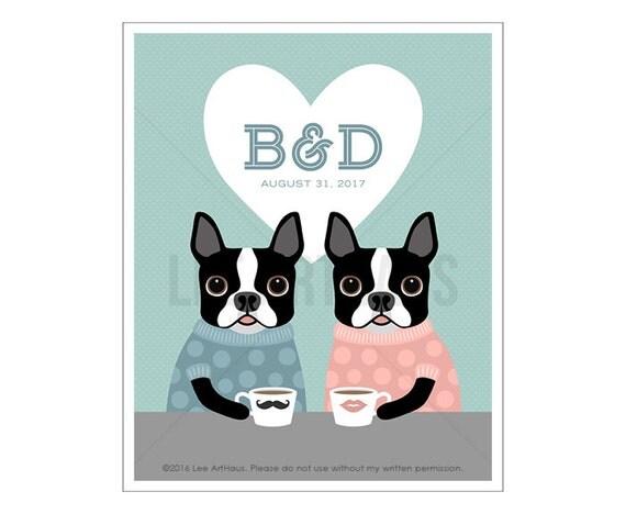 211P Personalized Wedding Gift - Custom Initials Boston Terrier Wall Art - Funny Anniversary Gift - Coffee Wall Art - Engagement Gift Art