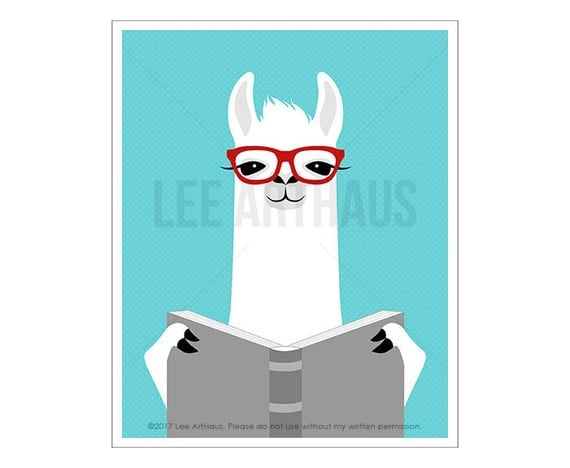 53J Book Art Prints - White Llama Reading Book Wall Art - Book Lover Gifts - Reading Art - Llama Art - Reading Poster - Library Decor