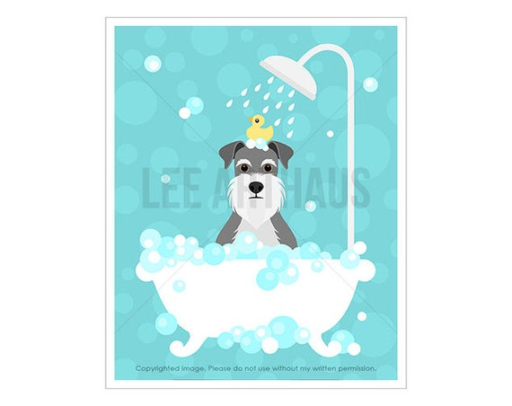 244D Dog Print - Schnauzer Dog in Bubble Bath Wall Art - Dog Wall Art - Schnauzer Wall Art - Schnauzer Print - Bathroom Art - Bath Prints