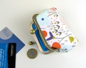 Handmade purse, Organic cotton coin purse, Snap closure purse,  Card and coin purse with snap closure, Handmade in Scotland