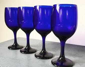 vintage blue glasses - wine goblet - cobalt jewel tone barware - boho wedding