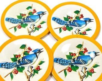 "Blue Jays Tin Toy tea saucers, Blue, white & black BIRDS, set of 4 matching, 3 1/4""."