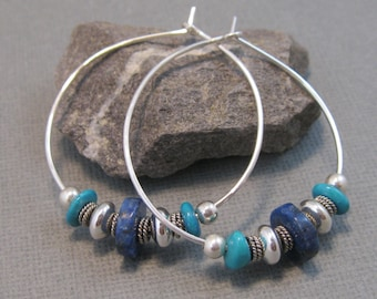 Blue lapis and sterling hoop earrings, hammered sterling silver hoops with sterling and natural lapis accents