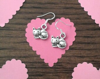 Tibetan Silver Cat Charm Earrings with Sterling Silver Ear Wires
